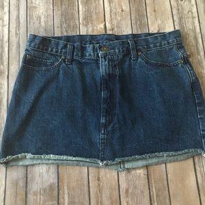 Free People Raw Hem Denim Mini Skirt size 12